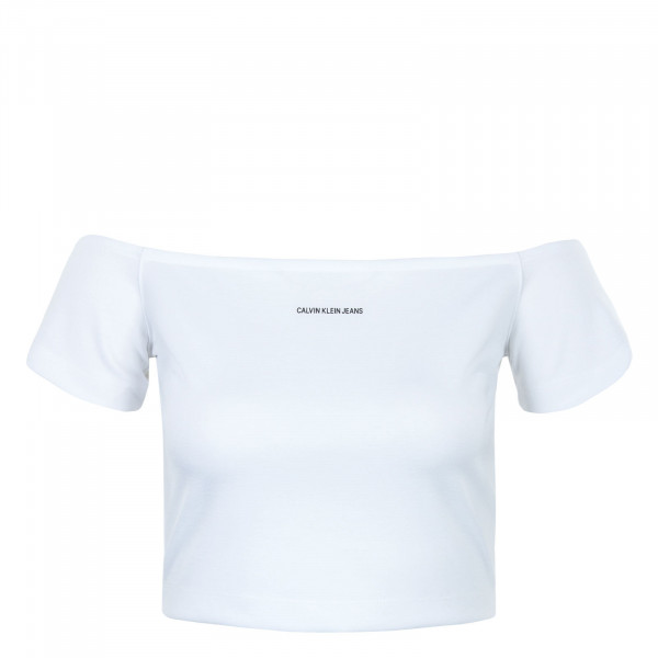 Damen Crop Top - Milano Bardot Top - Bright White