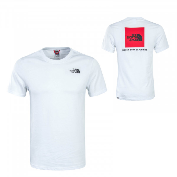 Herren T-Shirt Red Box White