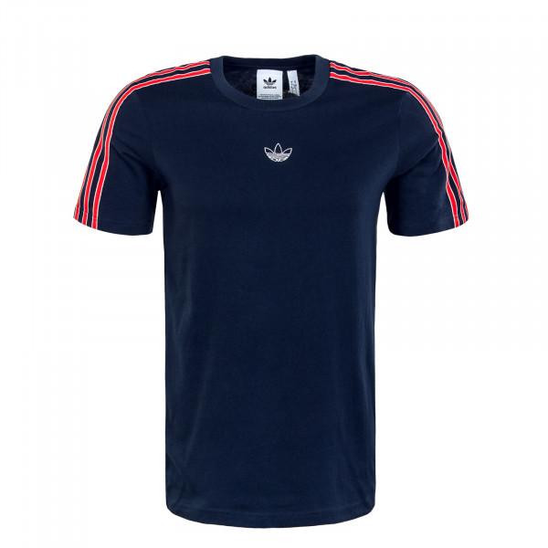 Herren T-Shirt - Sport 3 Stripe - Navy / Red