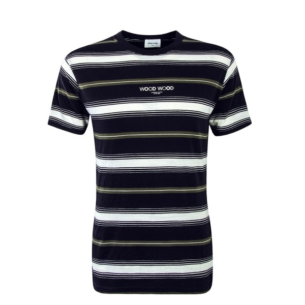Kurzarmshirt Perry Navy Stripe White Green