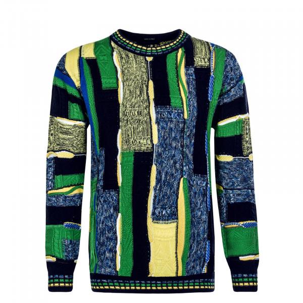 Herren Strickpullover - C9903 - Navy / Green / Yellow