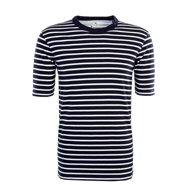 Kurzarmshirt Knit Herman Navy White