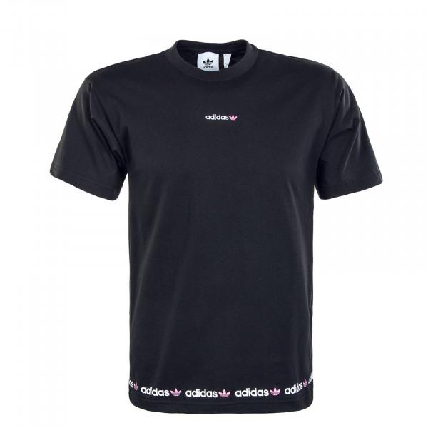 Herren T-Shirt - Linear Repeat Tee - Black / Pink
