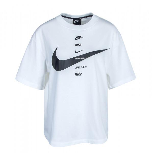 Damen T-Shirt Swoosh Top White Black