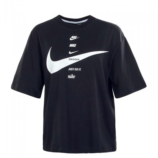 Damen T-Shirt Swoosh Top Black White