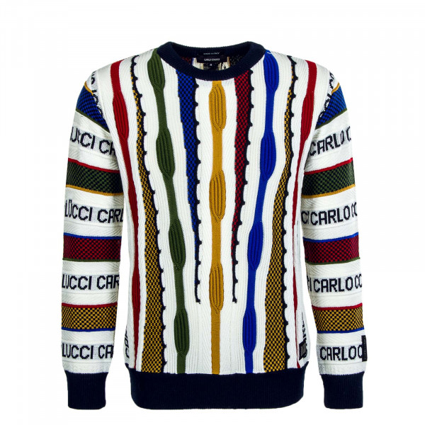 Herren Strickpullover - C9204 - White / Multi-Color