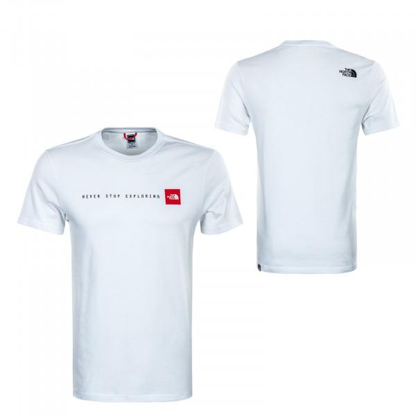 Herren T-Shirt -  Never Stop Exploring - White / Red