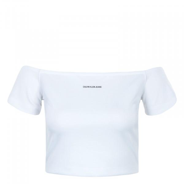 Damen Crop Top - Milano Bardot Top - Bright White