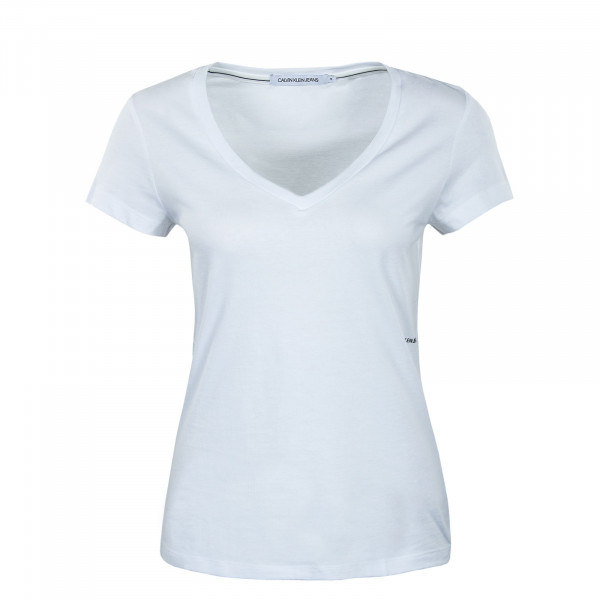 Damen T-Shirt - Micro Branding Off Placed V-Neck - White