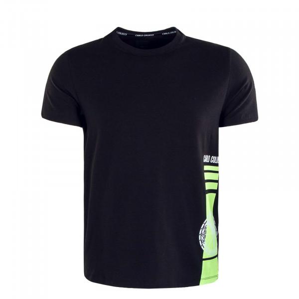 Herren T-Shirt - C2334 - Black White Neon