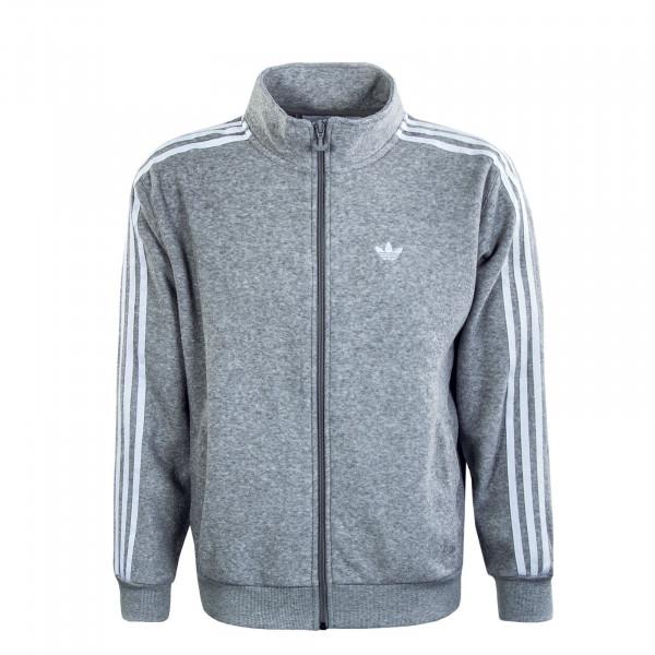 Herren Trainingsjacke - Bouclé Track Jacket - Grey / White