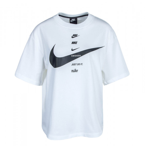 Damen T-Shirt Swoosh Top White Black