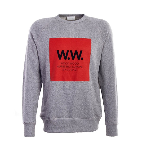Wood Wood Sweat Hester Grey Melange Red