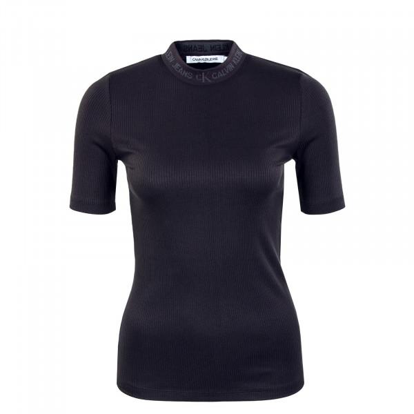 Damen Shirt - Logo Trim Rib Tee - Black