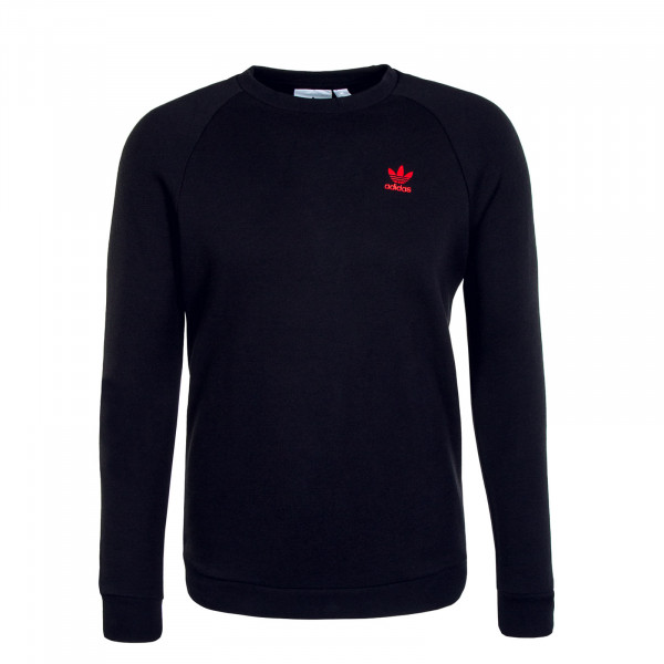 Herren Sweat Essential Crew Black Scarlet