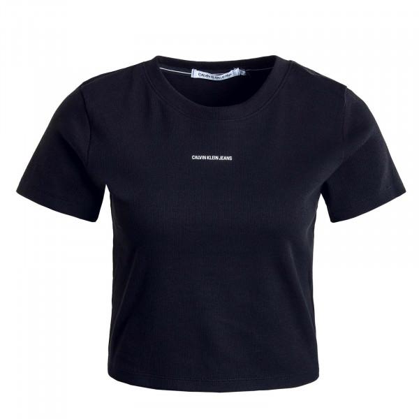 Damen T-Shirt - Micro Branding Crop Rib Top - Black