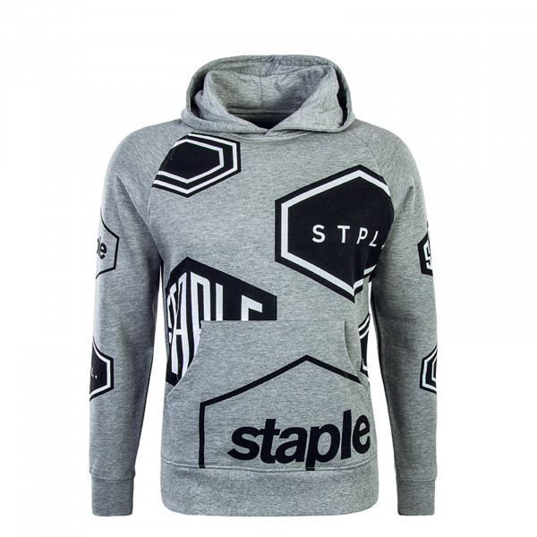 Staple Hoody Pigeon Geo Print Grey