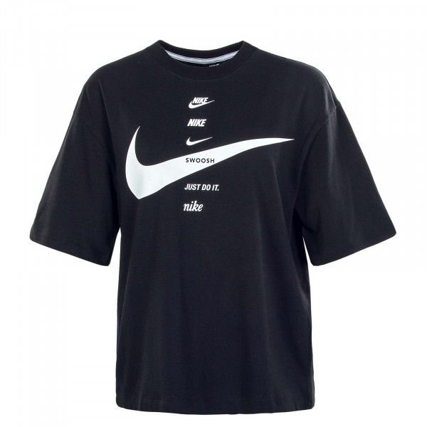 Damen T-Shirt Swoosh Top Black White